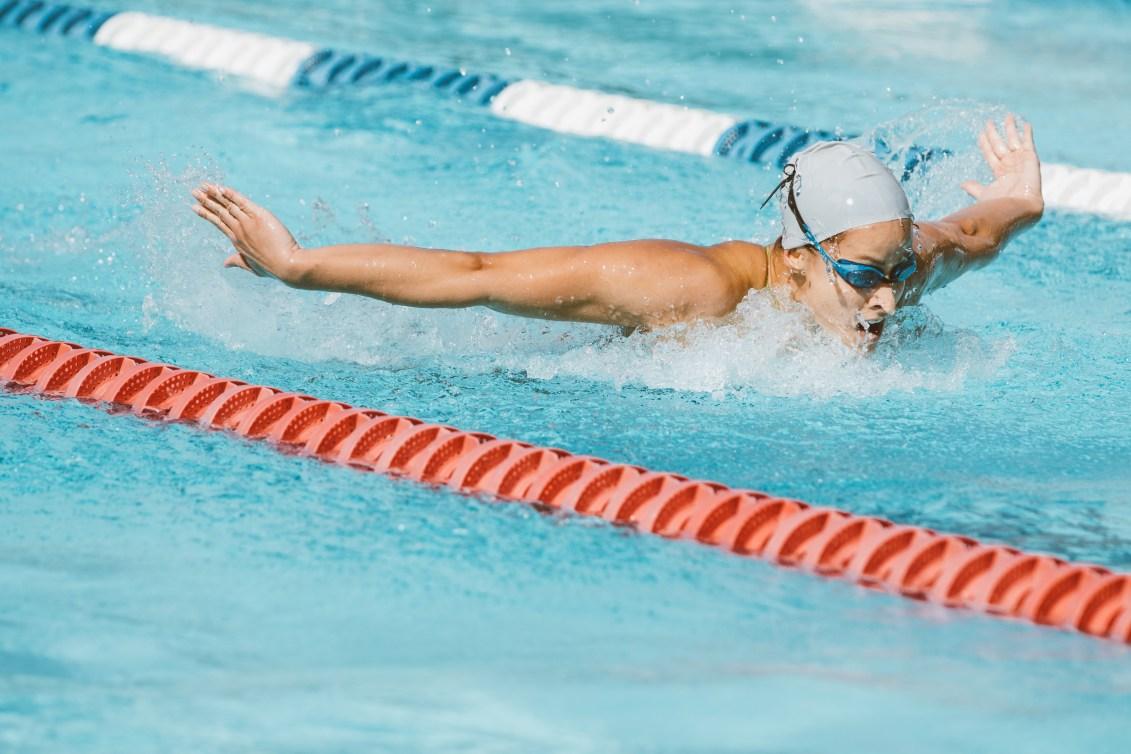 Katerine Savard swims butterfly in a movie still