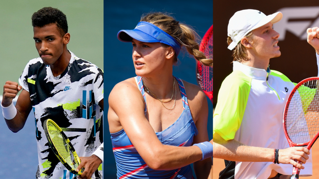 A collage of (L-R) Felix Auger-Aliassime, Genie Bouchard and Denis Shapovalov playing tennis.