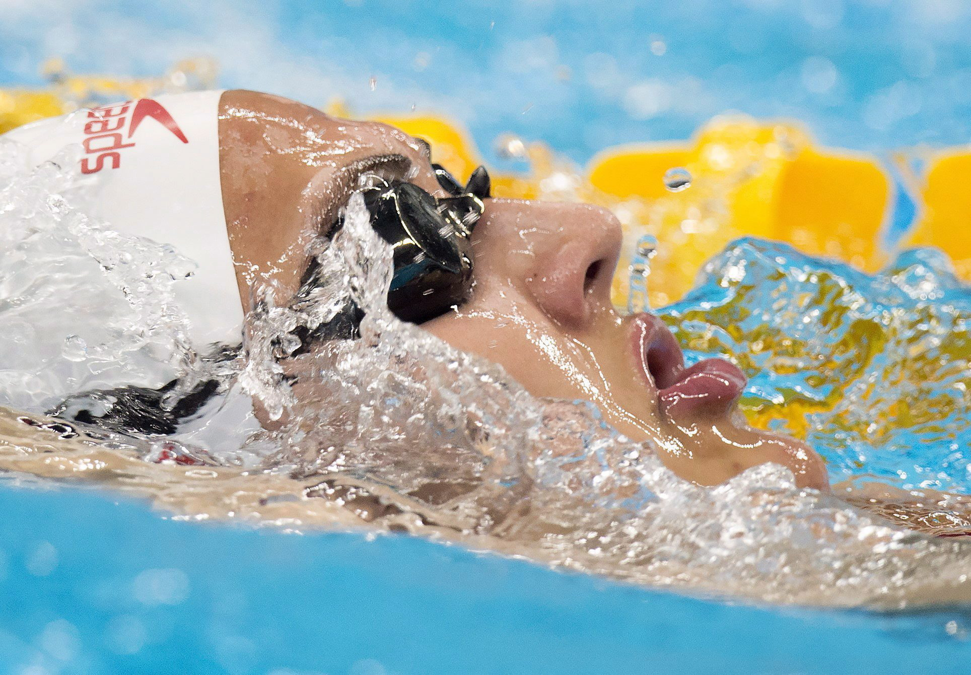 Close up of Kylie Masse's face while swimming
