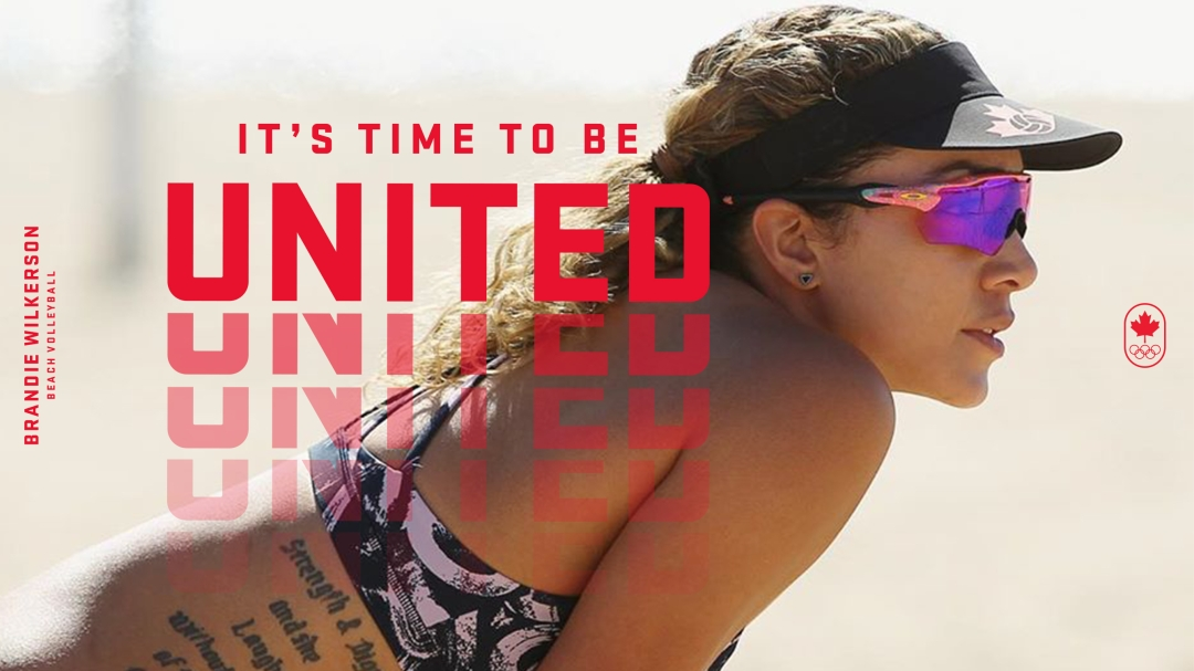 It's time to be united text over photo of volleyball player
