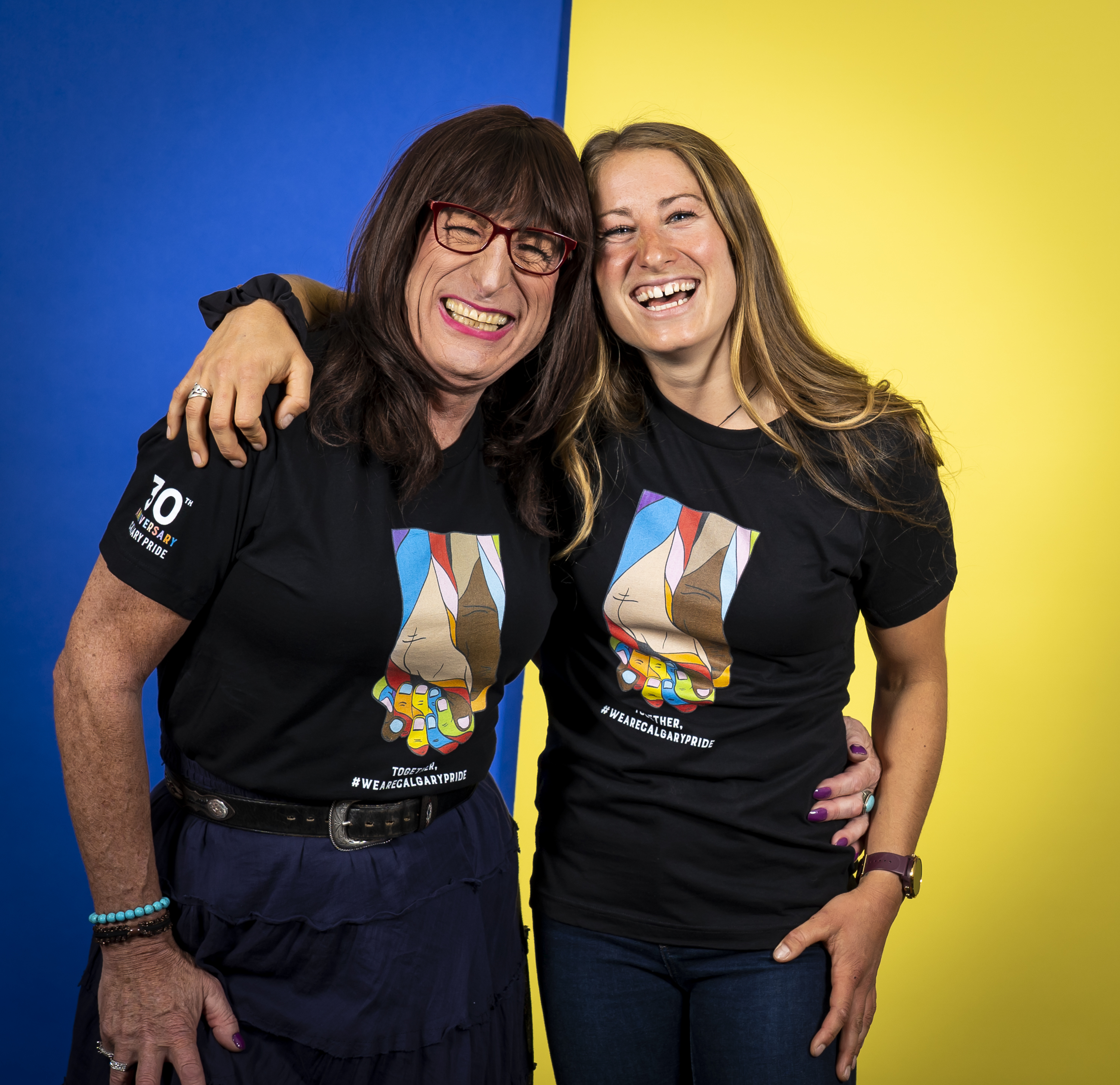Haley and Kimberly Daniels pose for Calgary Pride