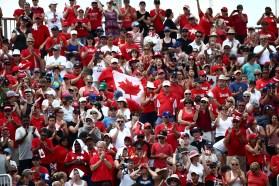 Team Canada fans watch softball
