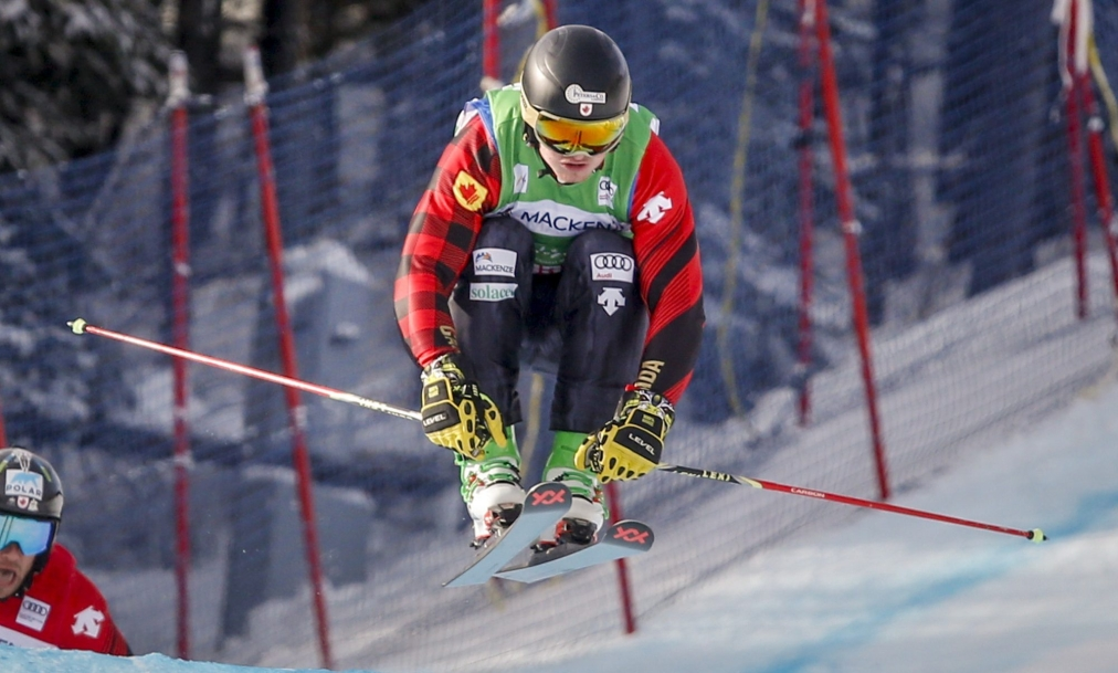 Canada's Reece Howden skis to victory during the men's semifinal at the World Cup ski cross event at Nakiska Ski Resort in Kananaskis, Alta., Saturday, Jan. 18, 2020.THE CANADIAN PRESS/Jeff McIntosh