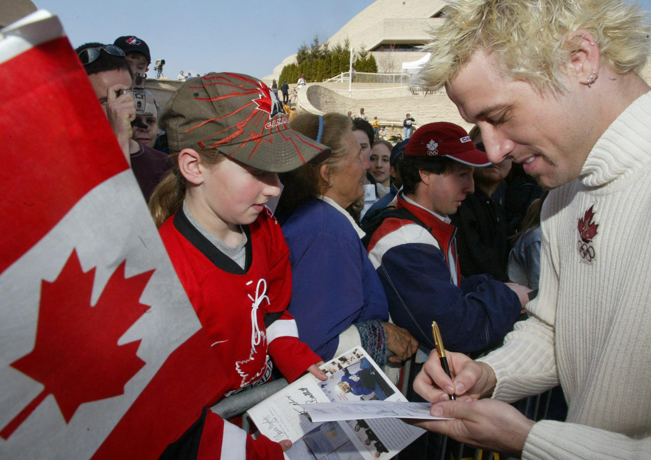 Marc Gagnon signs autographs in 2002