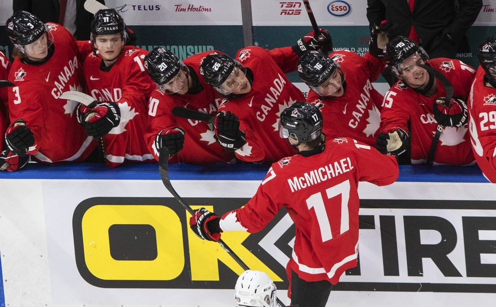 Canada's Connor McMichael (17) celebrates his goal with teammates against Russia during first period IIHF World Junior Hockey Championship action in Edmonton on Monday, January 4, 2021. THE CANADIAN PRESS/Jason Franson