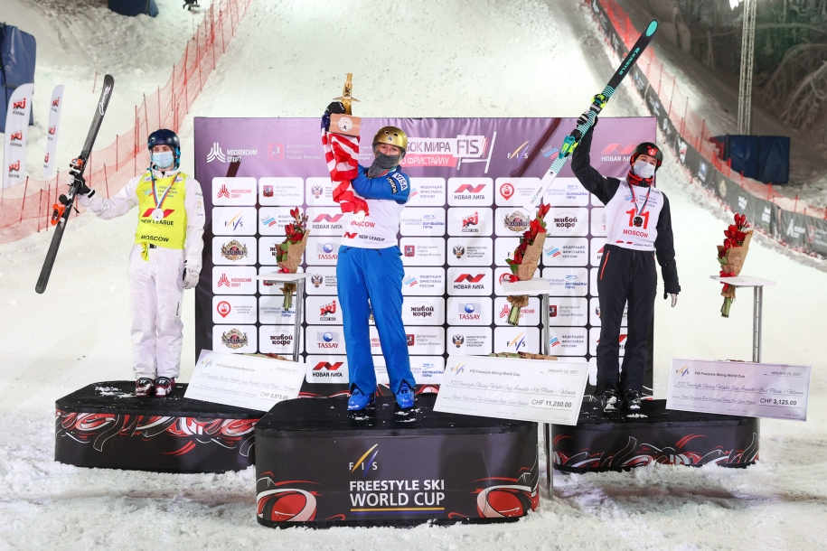 Marion Thenault (right) on the World Cup podium.