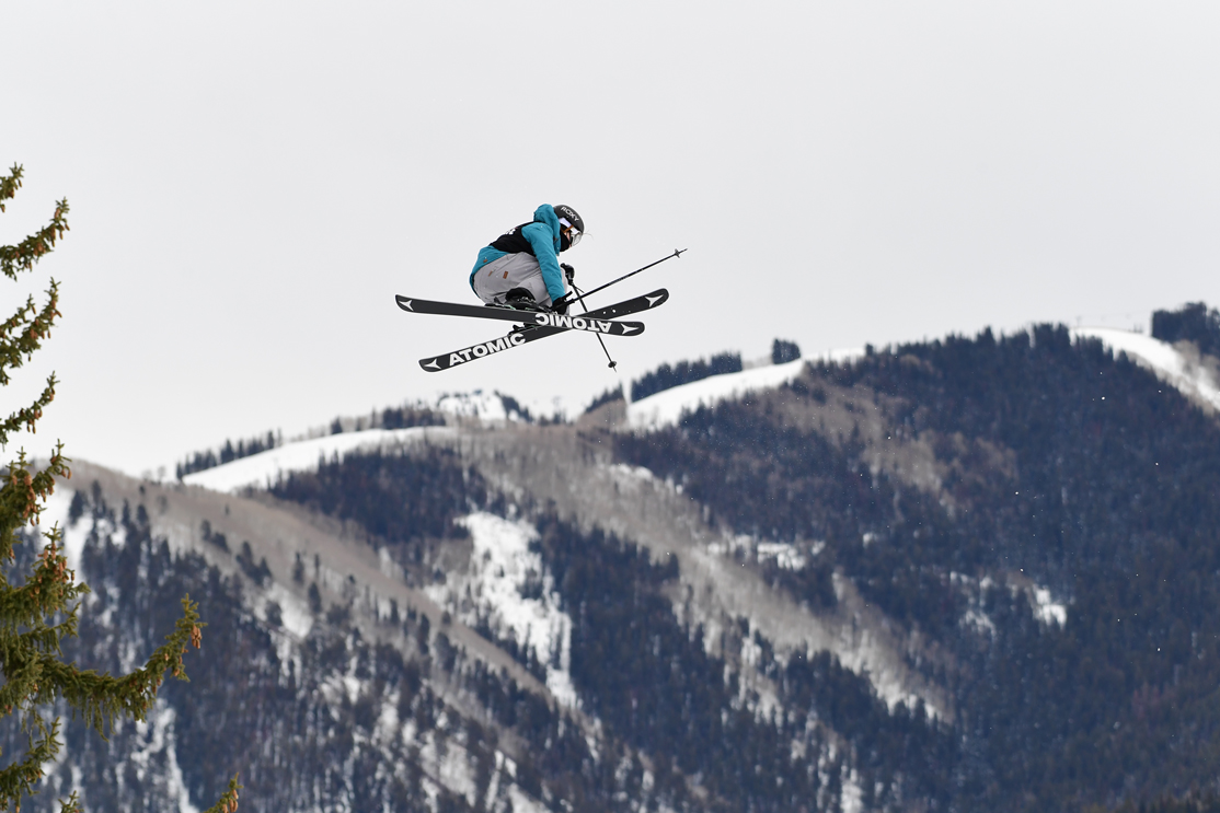Megan Oldham mid-air during a run for the women's ski big air competition at the X Games.