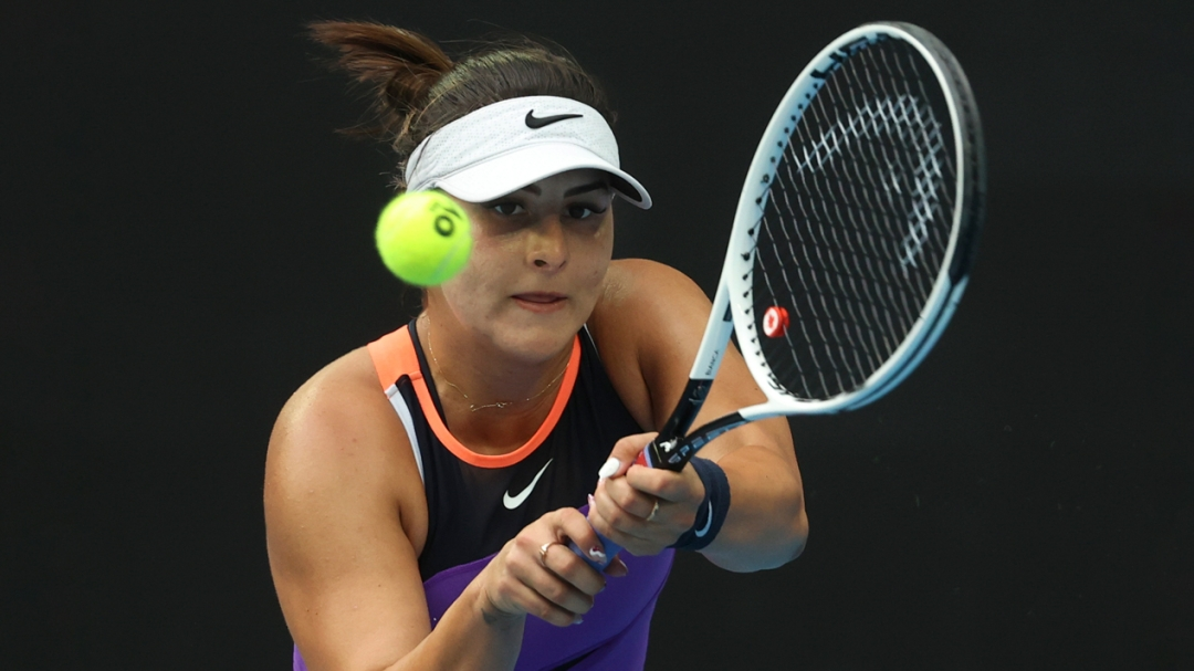 Canada's Bianca Andreescu makes a backhand return during a mtach.