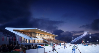 Artist rendering of National Biathlon Centre in Zhangjiakou