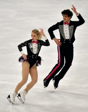 Piper Gilles and Paul Poirier of Canada perform during the Ice Dance - Rhythm Dance at the Figure Skating World Championships in Stockholm, Sweden, Friday, March 26, 2021.