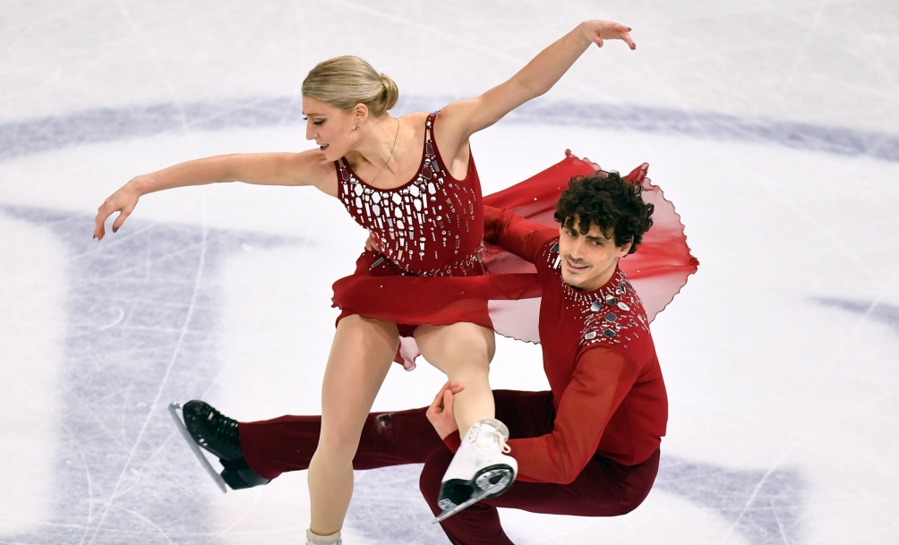 Piper Gilles and Paul Poirier of Canada perform during the Ice Dance-Free Dance at the Figure Skating World Championships in Stockholm, Sweden, Saturday, March 27, 2021.