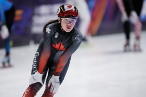 Short track speed skater Courtney Sarault after competing in the Netherlands on march 7, 2021