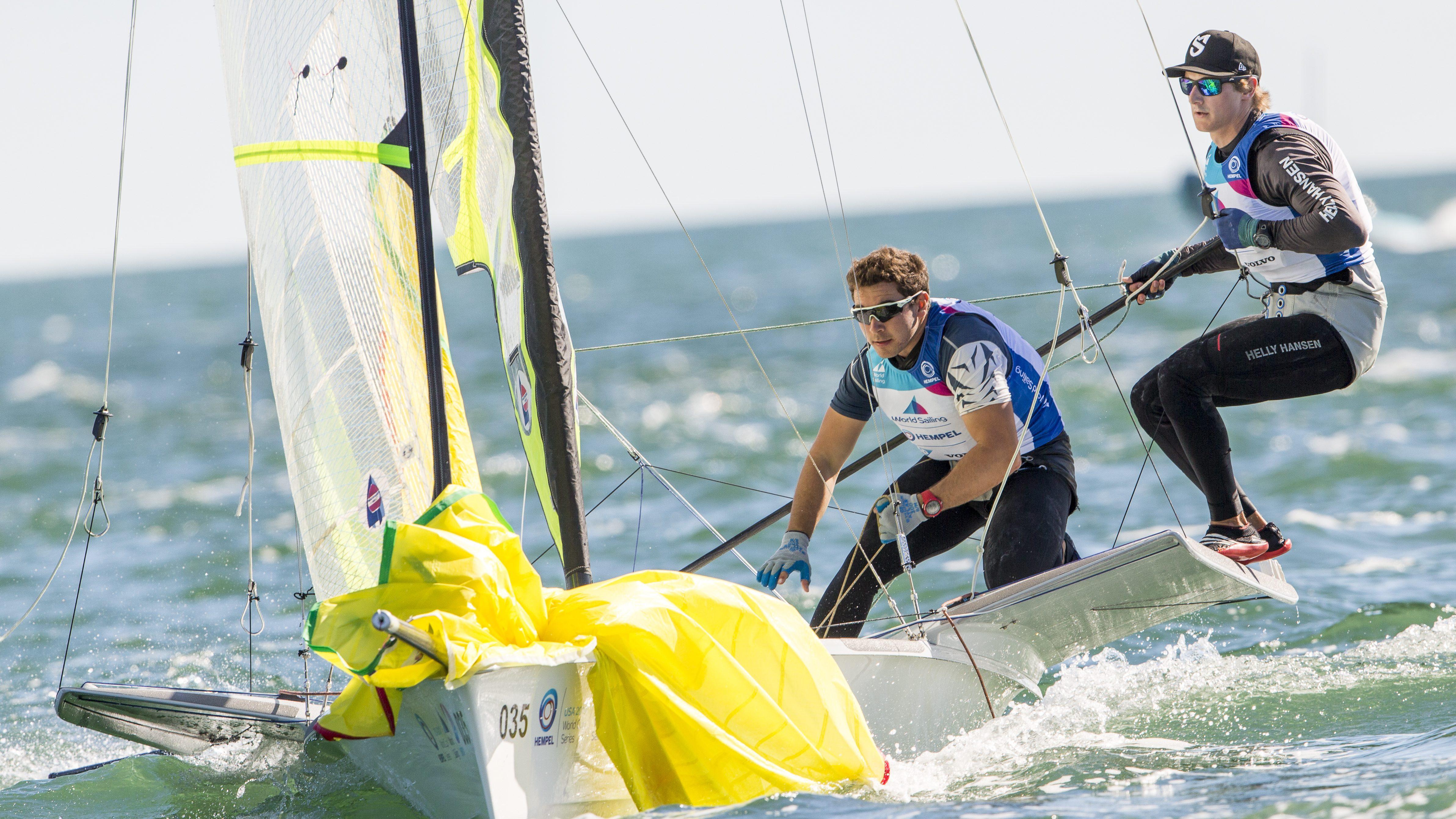 William Jones and Evan DePaul racing on their boat