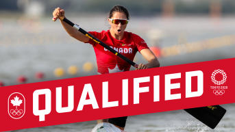 Qualified banner on photo of Katie Vincent paddling in canoe