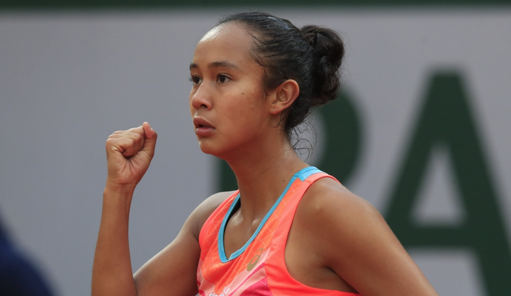 Canada's Leylah Fernandez clenches her fist after scoring a point against Petra Kvitova of the Czech Republic in the third round match of the French Open tennis tournament at the Roland Garros stadium in Paris, France, Saturday, Oct. 3, 2020.