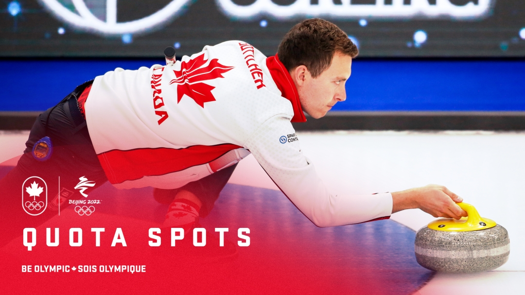 """Team Canada skip Brendan Bottcher makes a shot. On the bottom left """"quota spots"""" with a logo lockup of Team Canada and Beijing 2022."""