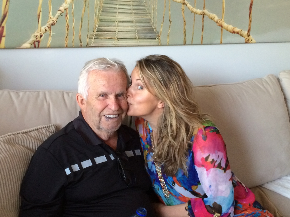 Annie Pelletier kisses her father on the cheek