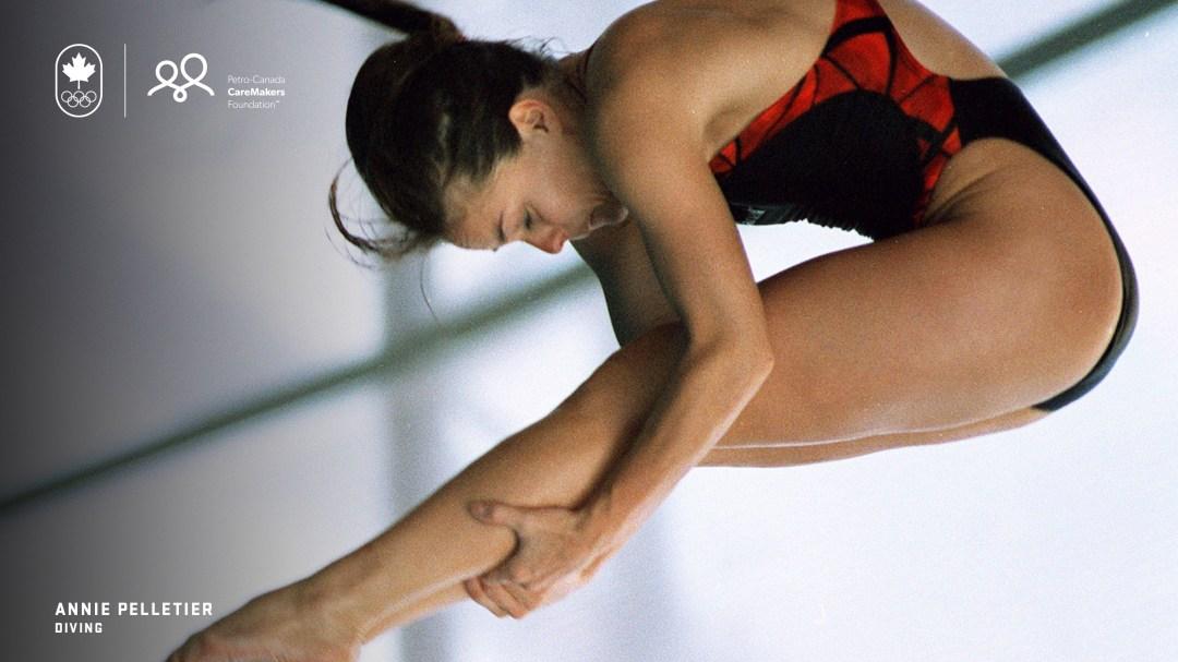 Annie Pelletier mid-dive