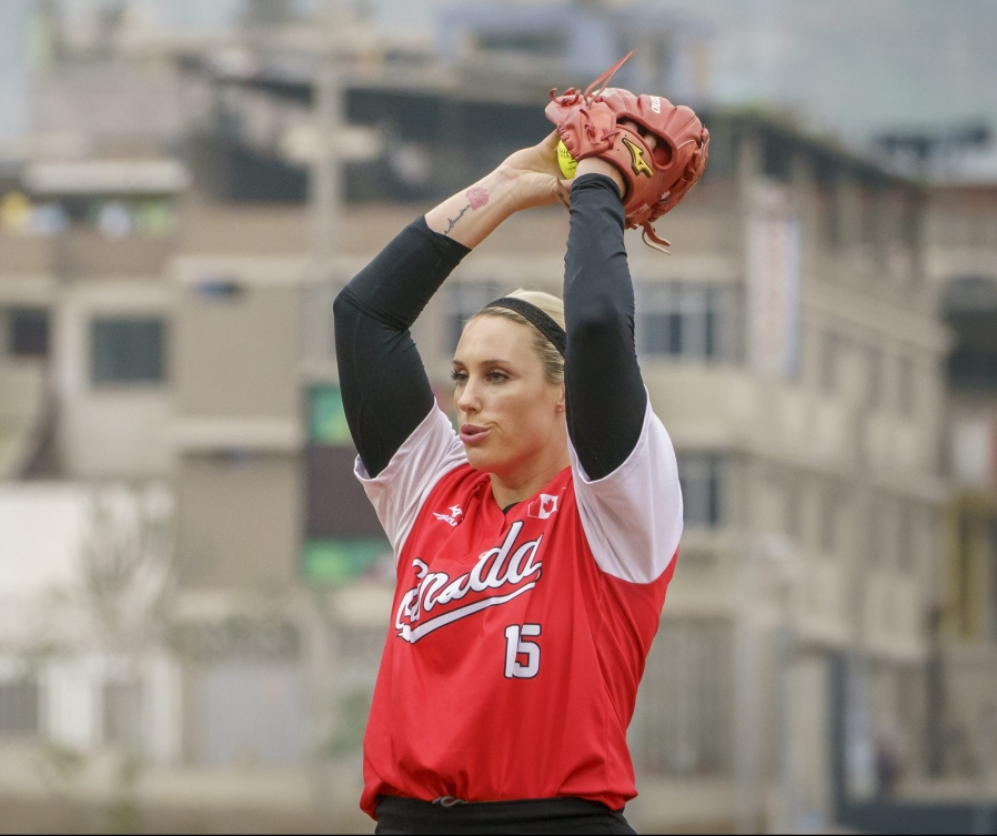 Danielle Lawrie prepares to pitch the ball