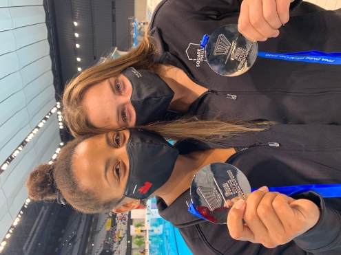 Jennifer Abel and Melissa Citrini-Beaulieu won silver.in the synchronized 3m springboard event at the FINA Diving World Cup in Tokyo, Japan on Saturday May 1, 2021. (Photo: Diving Canada).