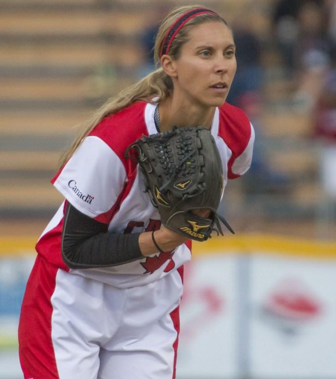 Lauren Regular prepares to pitch a ball