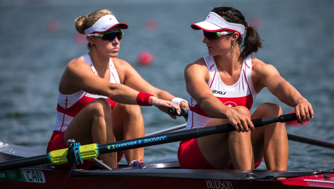 Two women rowers in their boat