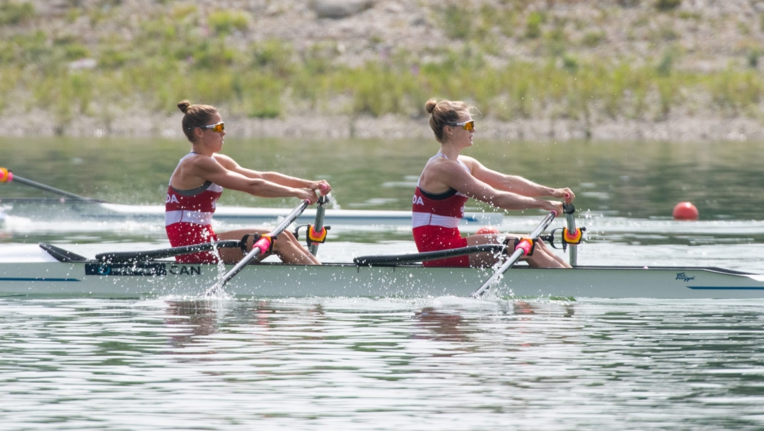 Two female rowers in their boat