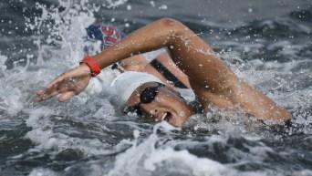 Swimmer in open water