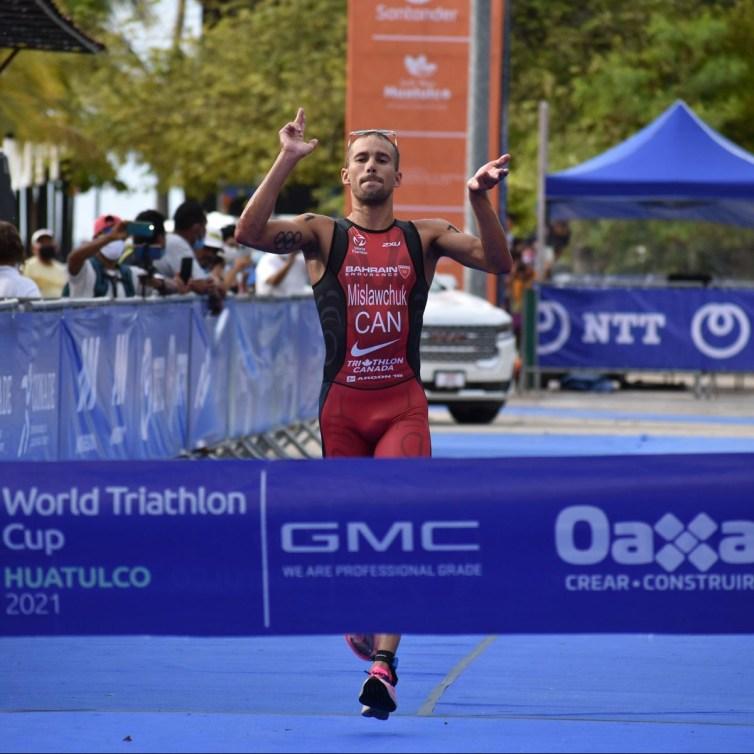 Tyler Mislawchuk of Canada wins the World Triathlon Cup in Huatulco, Mexico on Sunday June 13, 2021. Photo by: World Triathlon Media.