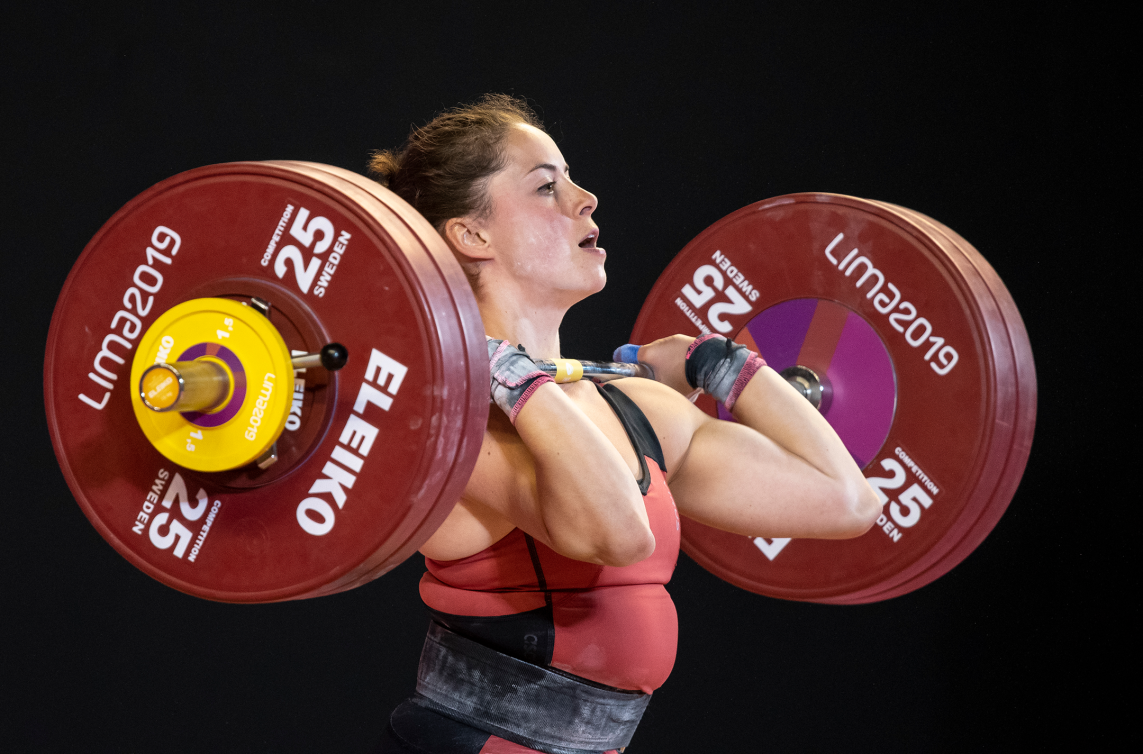 Weightlifter competes