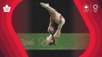 Rosie MacLennan flipping in air