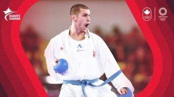 Karate athlete yelling