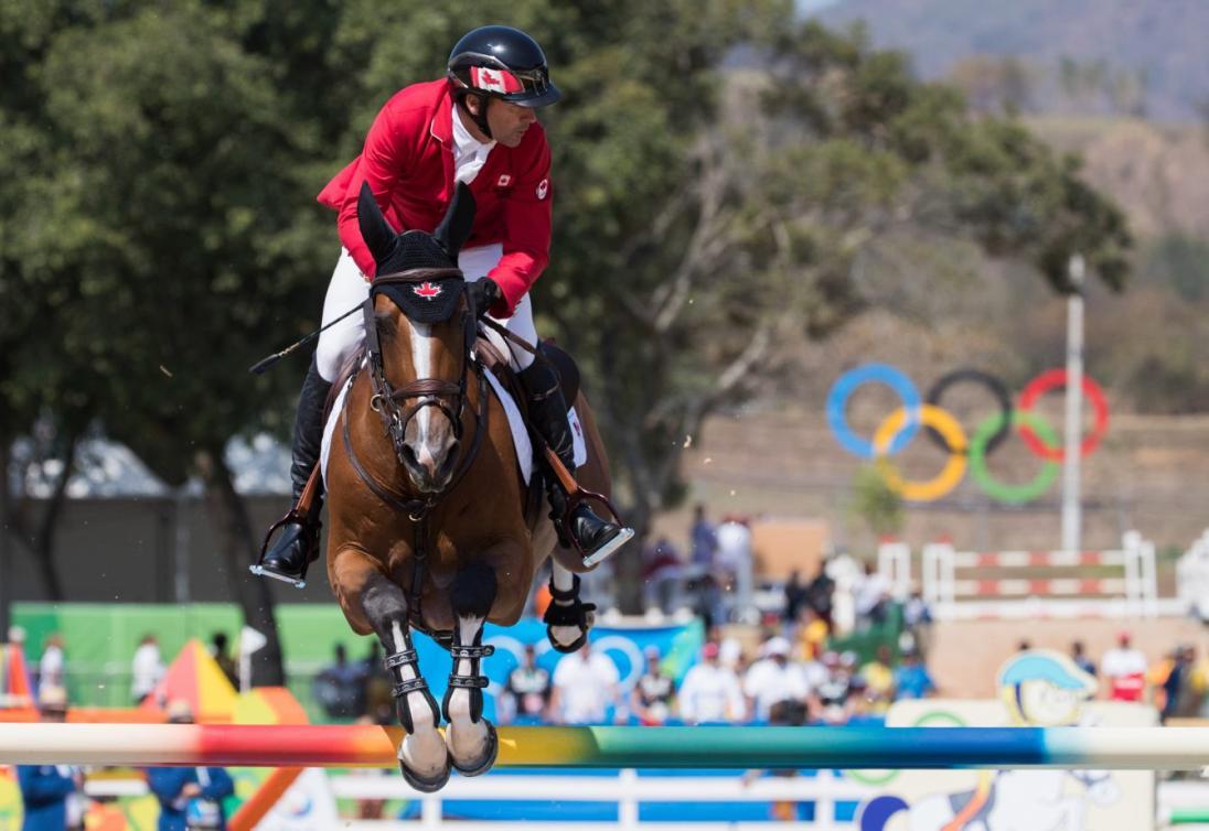 Eric Lamaze lors de la finale de saut d'obstacles aux Jeux olympiques de Rio, l 19 août 2016. (photo: Mark Blinch)