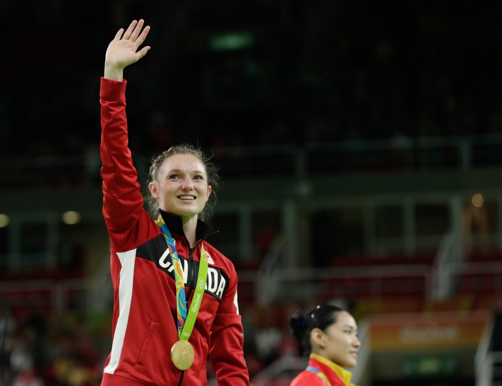 Rosie MacLennan lors de la cérémonie des médailles aux Jeux olympiques de Rio, le 12 août 2016. (COC// Jason Ransom)